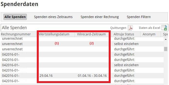 Screenshot-Spenderdaten
