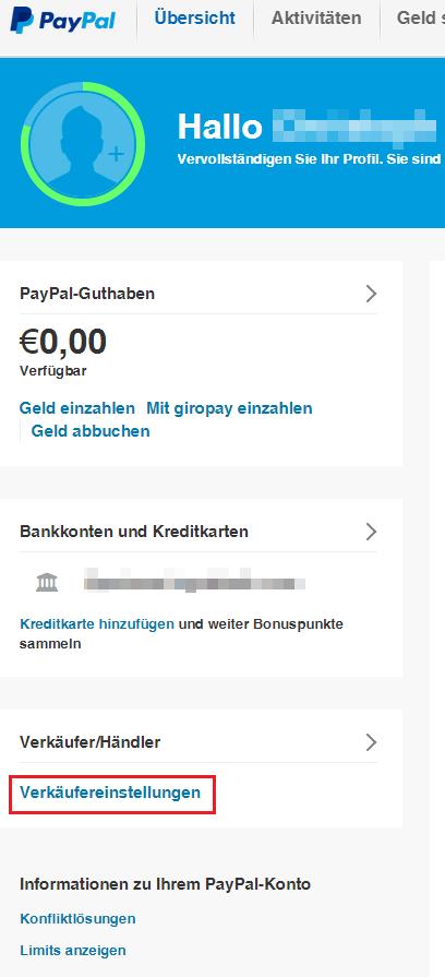 wie lade ich mein paypal konto auf