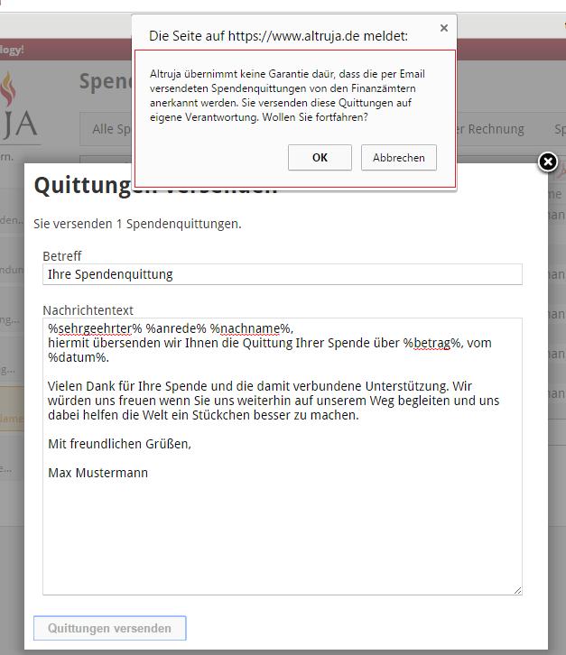 Spendenquittungen per Email versenden mit Altruja