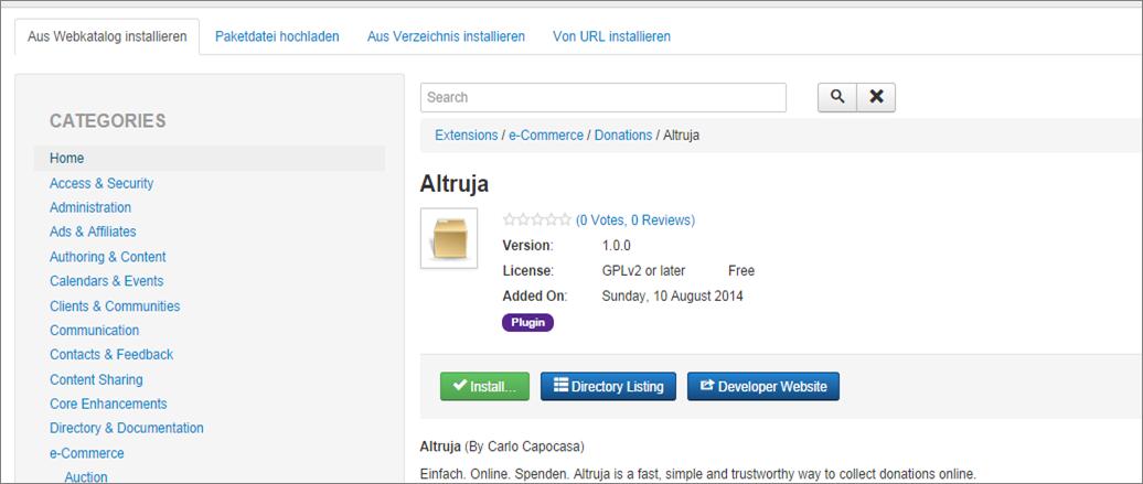 Wie Sie das Altruja-Plugin in Jommla einbauen
