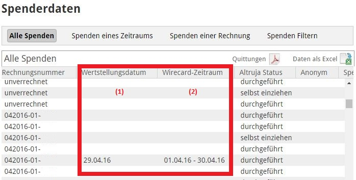 Screenshot-Spenderdaten