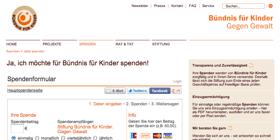 Spendenformular Spendenaktion mit Altruja - Beispiel