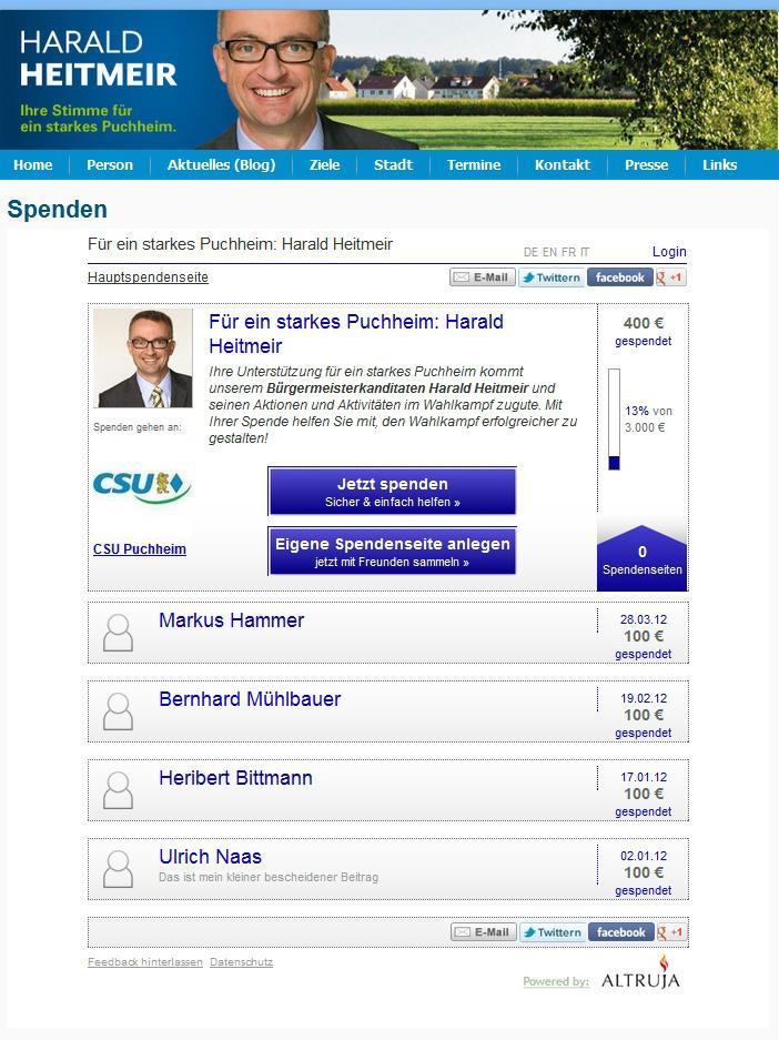 Parteispenden sammeln mit Altruja - 2. Beispiel politisches Fundraising