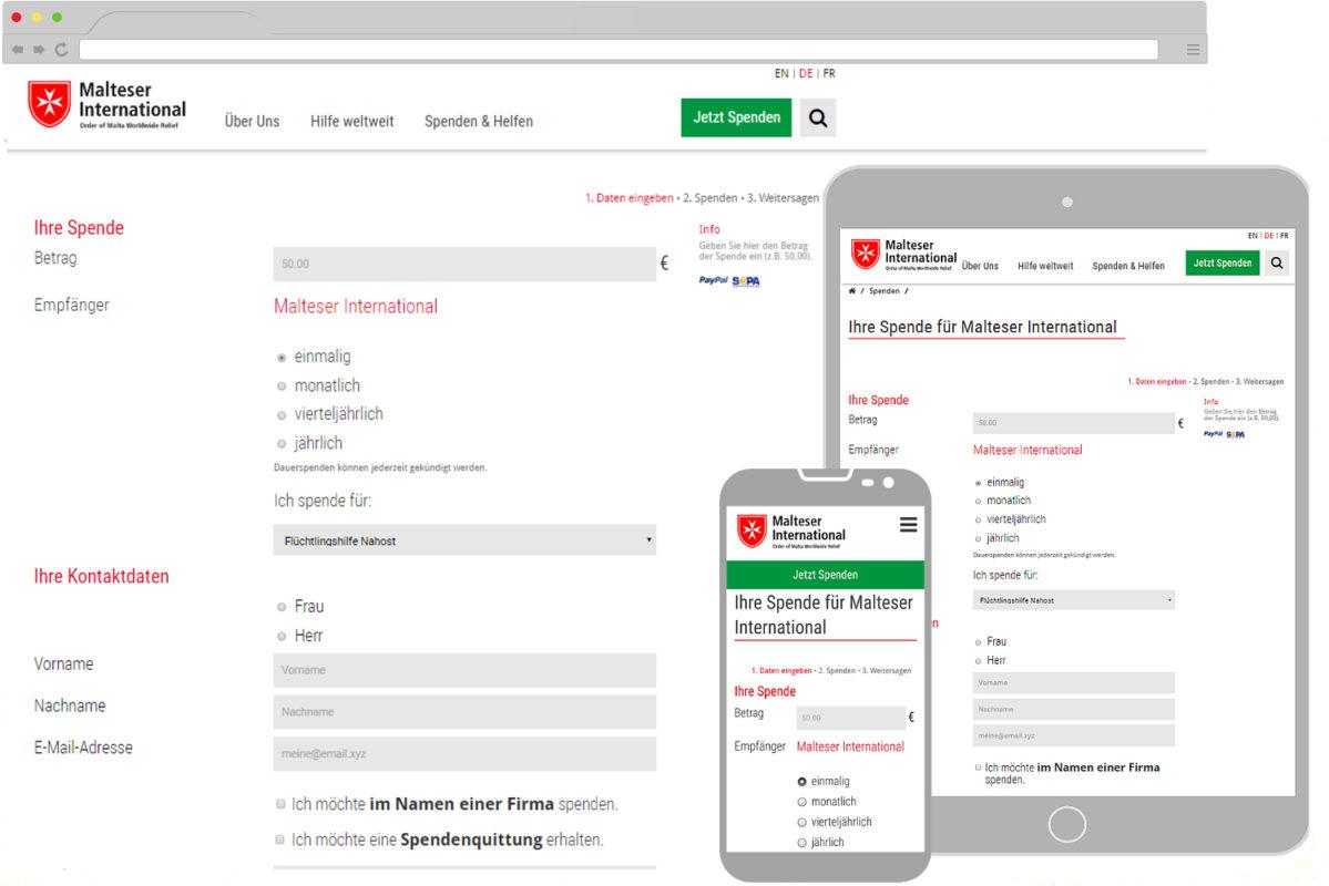 spendenformular altruja mobile responsive