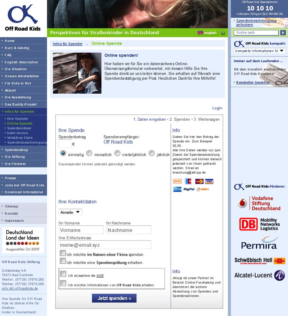 Online Spenden sammeln für NPOs und Vereine von Altruja - Beispiel2
